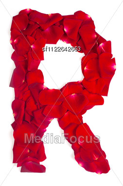 alphabet letter r made from red petals rose stock photo sf1122642653
