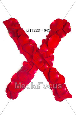 Alphabet Letter X Made From Red Petals Rose Stock Photo