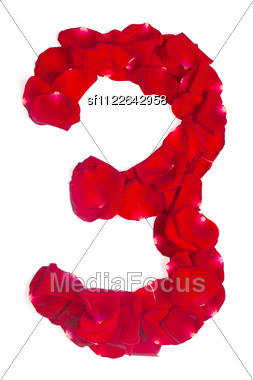 Alphabet Number 3 Made From Red Petals Rose Stock Photo