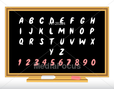 Alphabet On A Blackboard. Stock Photo