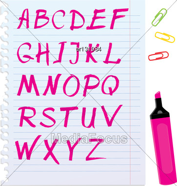 Alphabet Set - Letters Are Made By Marker Stock Photo