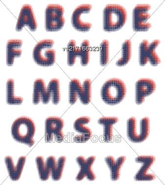 Alphabet Isolated On White Background. Set Of Letters. Halftone Alphabet Stock Photo