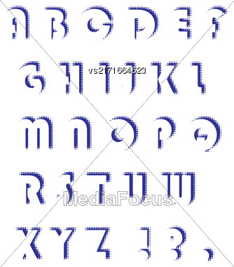 Alphabet Isolated On White Background. Set Of Letters. Halftone Alphabet Stock Photo
