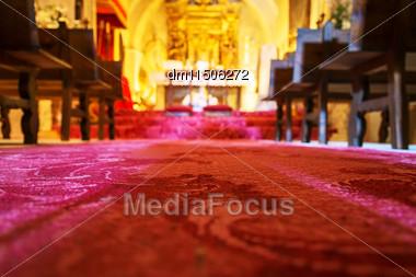 Alter Of Chapel. Focus On The Floor Stock Photo