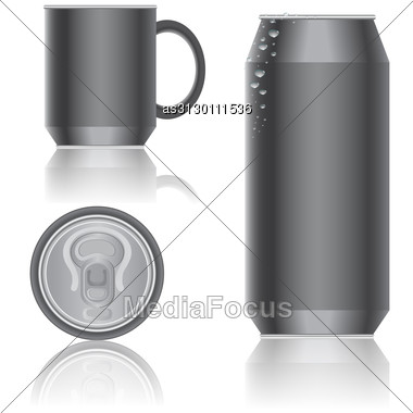 Aluminum Packaging For Beverages. Vector. Stock Photo