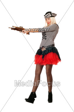Amazing Young Blonde With Guns Dressed As Pirates Stock Photo