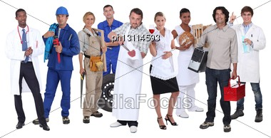 Ambitious Workers From Different Industries Stock Photo