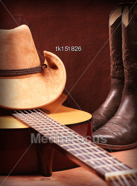 American Country Music Background With Guitar And Cowboy Clothes Stock Photo