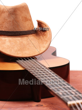 American Country Music Picture With Cowboy Hat And Guitar Isolated On White Stock Photo