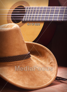 American Country Music Picture With Cowboy Hat And Guitar Stock Photo