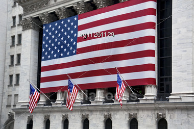 American Flag On Landmark Building Stock Photo
