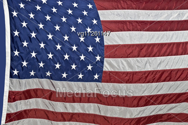 American Flag With Rippled Nylon Texture Stock Photo