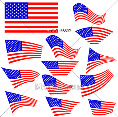 American Flags Icons Isolated On White Background Stock Photo