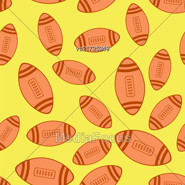 American Football Red Ball Seamless Pattern Isolated On Yellow Background Stock Photo