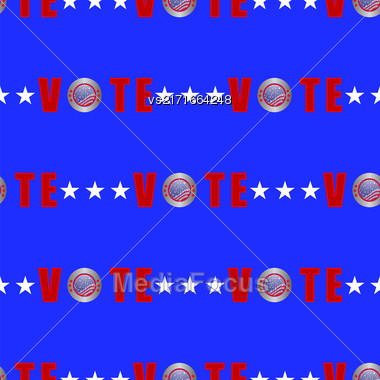 American Vote Seamless Pattern On Blue Background Stock Photo