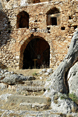 Among The Rocks, Stands The Twelfth-century Old Monastery (Palaiomonastiri) Where 300 People From Vrontamas Shut Themselves In And Refused To Hand Themselves Over To The Hordes Of The Egyptian Ibrahim Stock Photo