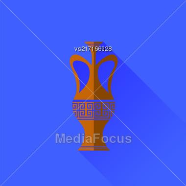 Amphora Icon Isolated On Blue Background. Long Shadow Stock Photo