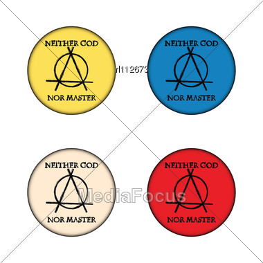 Anarchy Concept Buttons Stock Photo