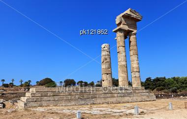 Ancient Acropolis Ruins Of Rhodes. Rhodes Island. Greece. Stock Photo