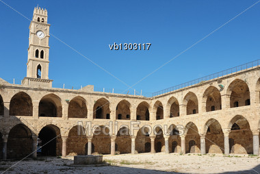 Ancient Caravanserai In The City Of Acre, Israel Stock Photo