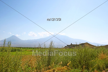Ancient Khor Virap Church And Mountain Ararat, Armenia. Stock Photo