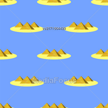 Ancient Pyramids Seamless Pattern On Blue. Historic Egiptian Building Background Stock Photo