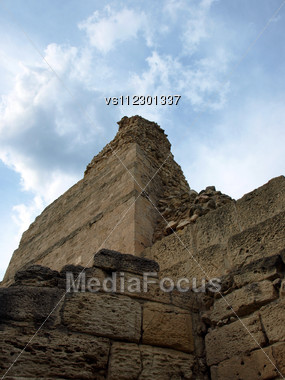 Ancient Ruins In The Background Of Dramatic Blue Sky.Chersonese.Crimea. Ukraine Stock Photo