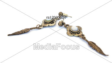 Ancient Style Earrings Stock Photo