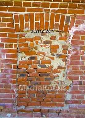 Ancient Window On Obsolete Brick Wall Stock Photo