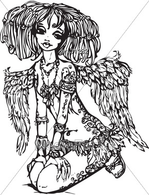 Angel Girl With Tattoo On Her Body - Illustration Is Made In Anime Style Stock Photo