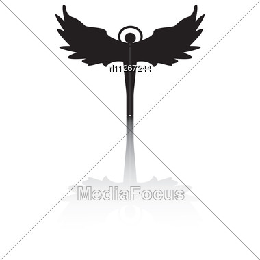 Angel Silhouette With Shadow Isolated Vector On White Stock Photo
