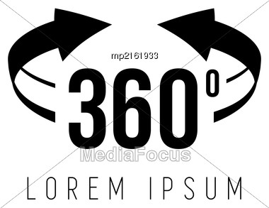 Angle 360 Degrees View Sign Icon. The Concept Of A Full Rotation. Vector Stock Photo
