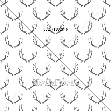 Animal Horns Seamless Pattern On White Background Stock Photo
