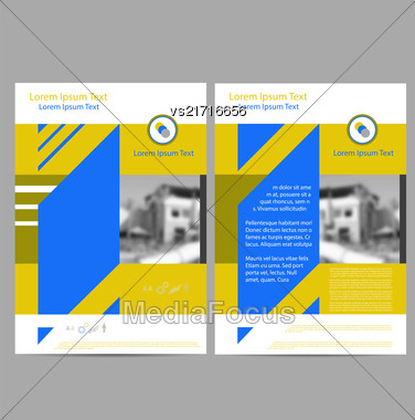 Annual Report Leaflet Brochure Flyer Template A4 Size Design, Book Cover Layout Design, Abstract Presentation Templates On Grey Background Stock Photo