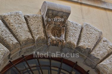 Antique Ancient Architectural Decoration Items Details Of Buildings Europe, Italy, Ancona Stock Photo