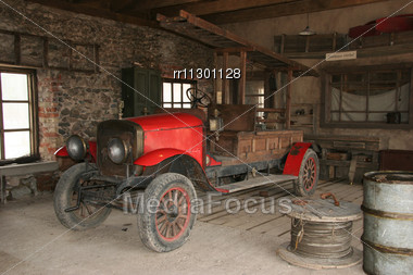 Antique Fire-engine At Fire-department In The Cinema Town Stock Photo
