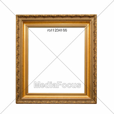 Antique Golden Frame Isolated Stock Photo