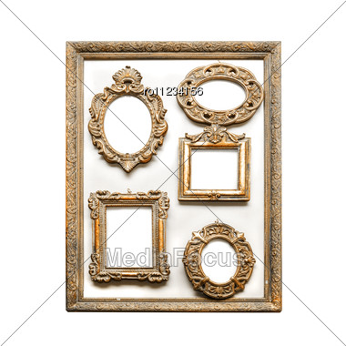 Antique Golden Frames Isolated Stock Photo