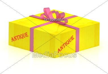 ANTIQUE Stamp On Gift Box Wrapped Yellow Paper, Illustration Stock Photo