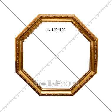 Antique Wooden Hexahedron Frame Isolated Stock Photo