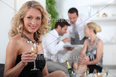 Aperitif With Friends Stock Photo
