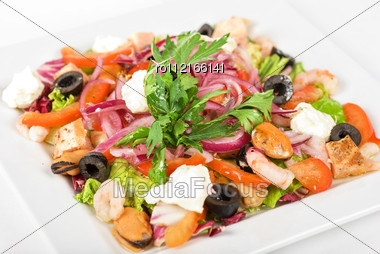 Appetizer Closeup Of Different Seafood And Vegetables Stock Photo