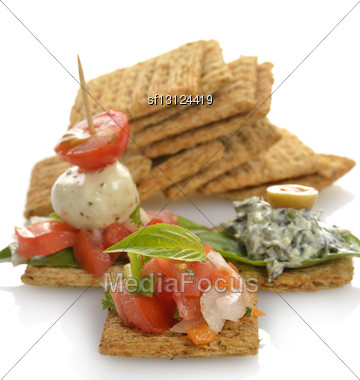 Appetizers With Crackers,Dip ,Vegetables And Mozzarella Cheese Stock Photo