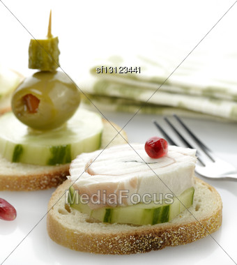 Appetizers With Vegetables And Rolled Mozzarella Cheese Stock Photo