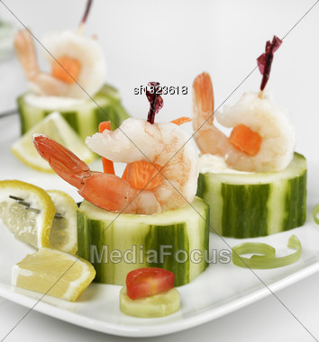 Appetizers With Shrimps,Close Up Stock Photo