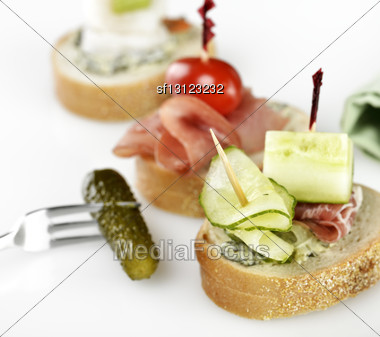 Appetizers With Smoked Meat And Vegetables Stock Photo
