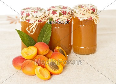 Appetizing Hommade Peach Jams And Tasty Apricots Stock Photo