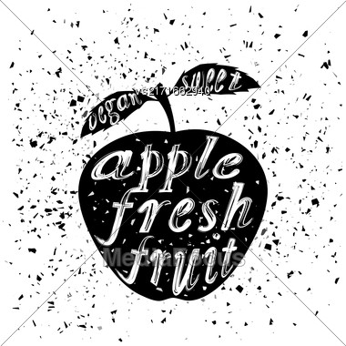 Apple Icon Typography Design On White Grunge Background. Vintage Fruit Poster, Banner, Logo Or Label With Lettering Stock Photo