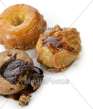 Apple,Pineapple And Chocolate Desserts Stock Photo