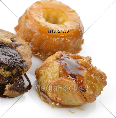 Apple,Pineapple And Chocolate Desserts ,Close Up Stock Photo
